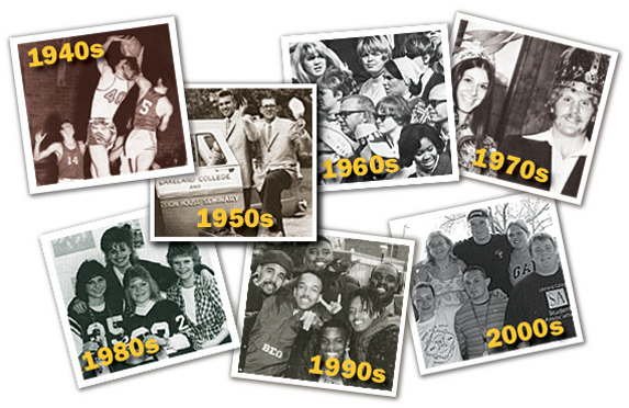 Photo collage of the decades of 1940s-2000s